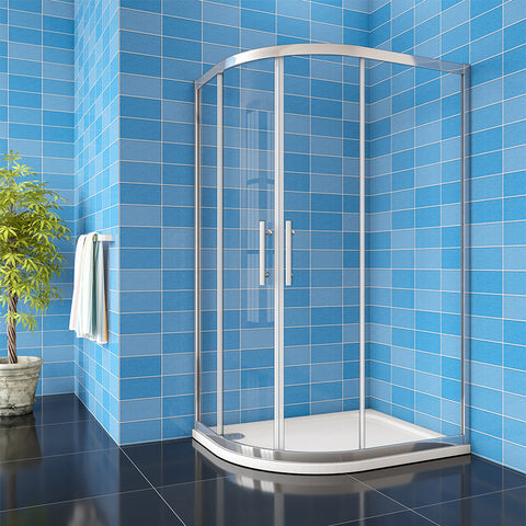 Quadrant Shower Enclosure 8mm NANO Easy Clean tempered clear glass 1900mm Chrome Offset/Equal Cubicle