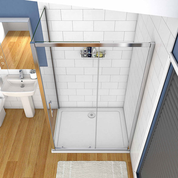 Sliding shower rectangle enclosure white Stone slimline Tray Chrome Frame Tempered Clear Glass 1900mm Height