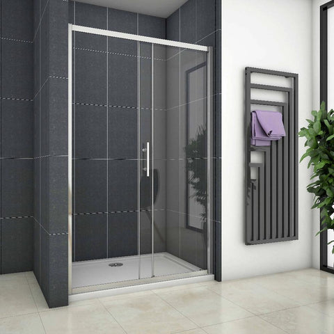 sliding shower Door 100 - 170cm x 190cm Chrome,Shower Stone Tray Optional