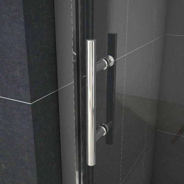 100 - 170cm x 190cm Chrome sliding shower Door,Shower Stone Tray Optional