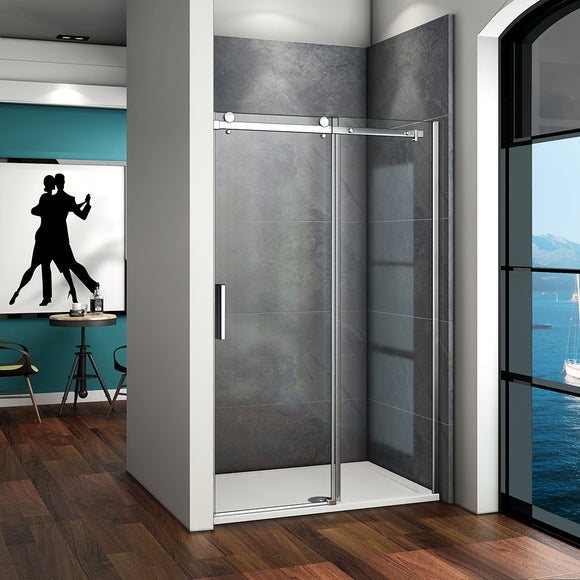 Luxury Quality 1000-1400x1950mm Frameless Sliding Shower Enclosure Door,Tray Optional
