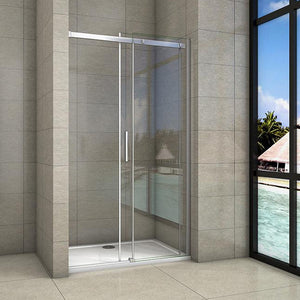 Sliding Shower Frameless Glass Door Chrome Frame  1000-1400mm width 1950 height