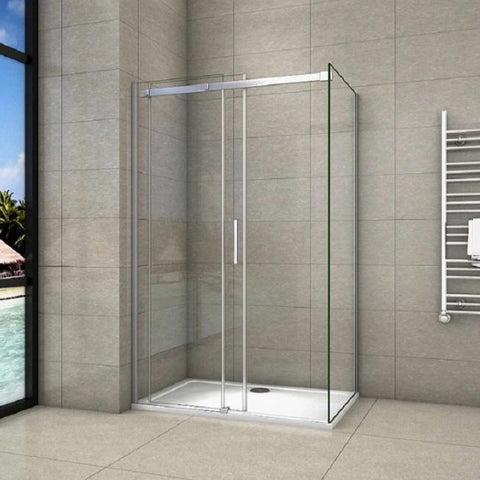Glass enclosure 1000mm|1100mm|1200mm|1400mm Sliding Shower Door,700-900mm Side panel, 1950mm Height