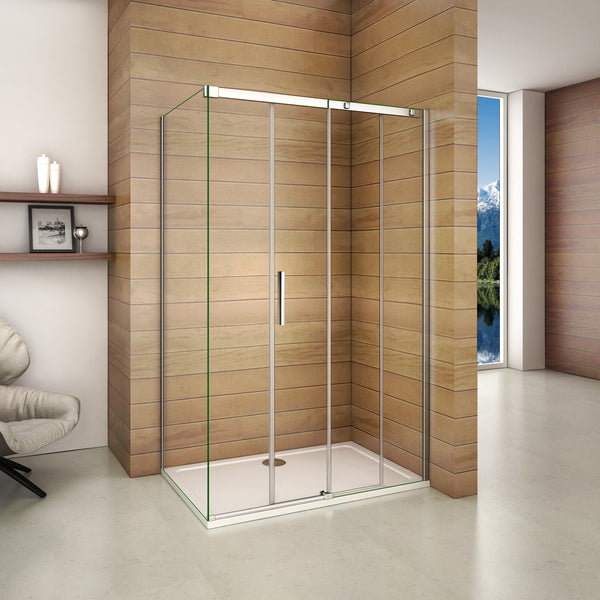 1000-1400mmx1950 Chrome Sliding shower rectangle enclosures,Shower Tray Optional