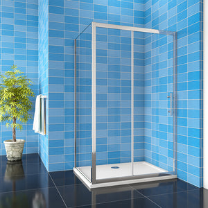 Sliding shower Enclosure Stone slimline Tray Tempered Clear Glass 1850mm Height