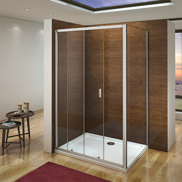 1000 - 1400mm x H.1850 Sliding Shower Door, 700-900mm side panel,Tray optioanl