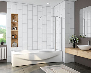 Pivot Bath Shower Screen 1000X1400mm Over Double Door Panel with towel rail