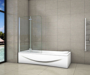 Shower Bath Screen EasyClean Glass 2 Fold ,900| 1000| 1200x1400mm Chrome 180 degrees Hinge