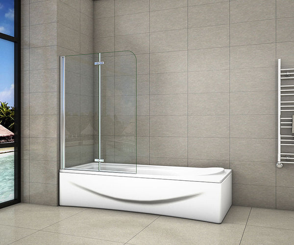 2 Fold EasyClean Shower Bath Screen,900| 1000| 1200x1400mm Chrome 180 degrees Hinge