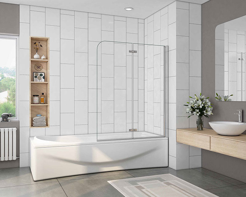 1400mm Height 180 degrees Hinge Chrome 2 Fold 6mm EasyClean Shower Bath Screen