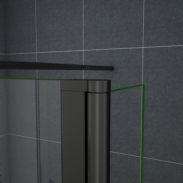 Black Walk In Shower Enclosure Wet Room Screen 1950mm height