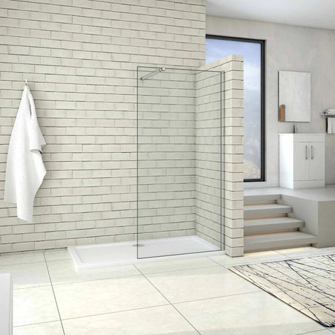 1000 - 1400mm Walk in 8mm shower screen EasyClean Glass