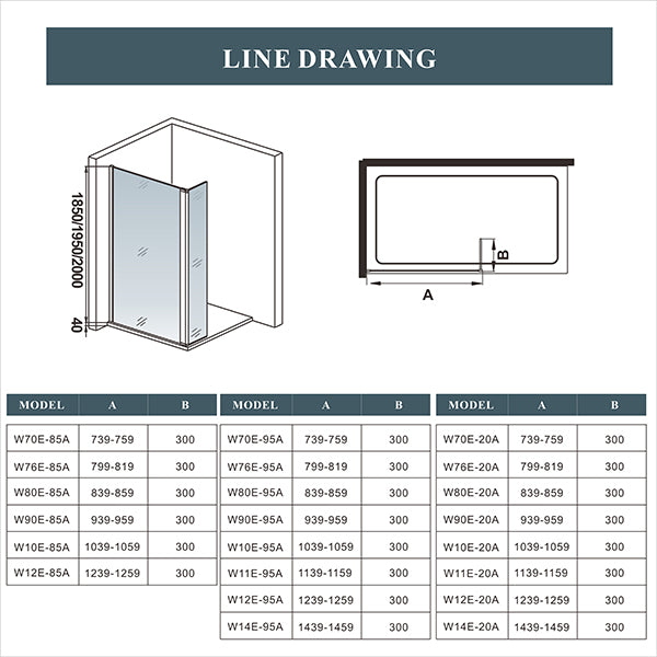 70-140cm+30cm,Shower Enclosure Screen Panel 8mm NANO Glass 200cm Height