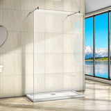 New Wet ROOM Shower Enclosure Screen Panel 8mm,Double Support Bar