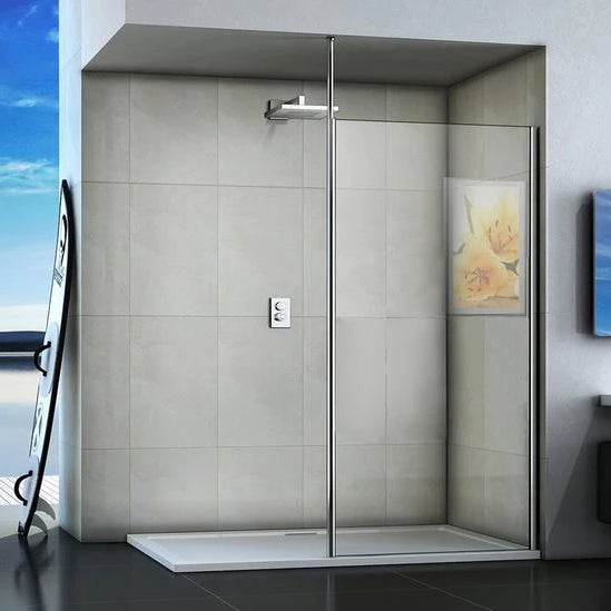Walk-in Wet Room Shower screen with ceiling strut, 8mm Nano Easy Clean Tempered Clear Glass