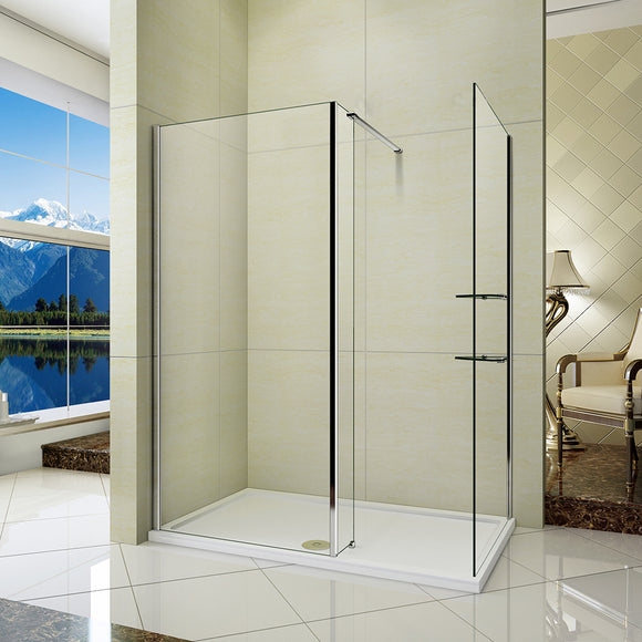L Shape Wet Room Shower Enclosure Glass Cubicle Fixed Panel,Tray Optional