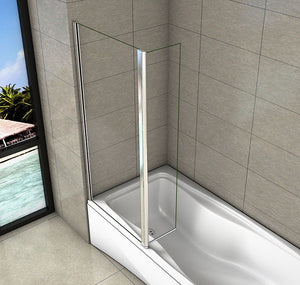 750+250mm Bath Shower Screen,1400mm Height,Flipper Screen panel