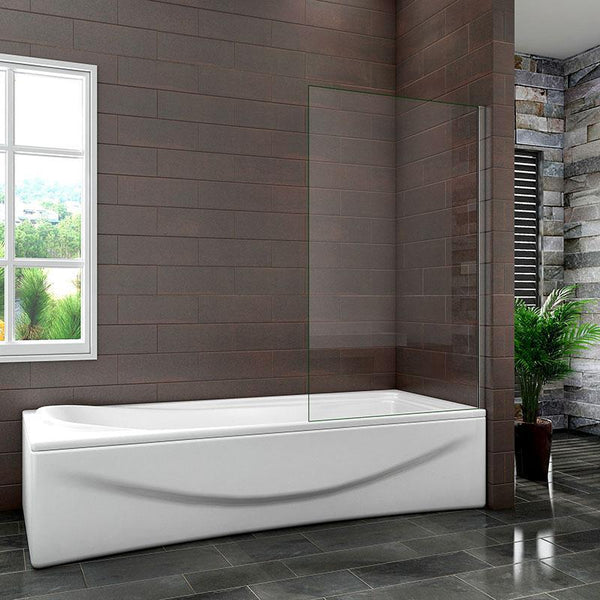25cm | 30cm | 35cm | 70cm | 80cm Square Cut Fixed Panel Over Bath Shower Screen 1400mm Height