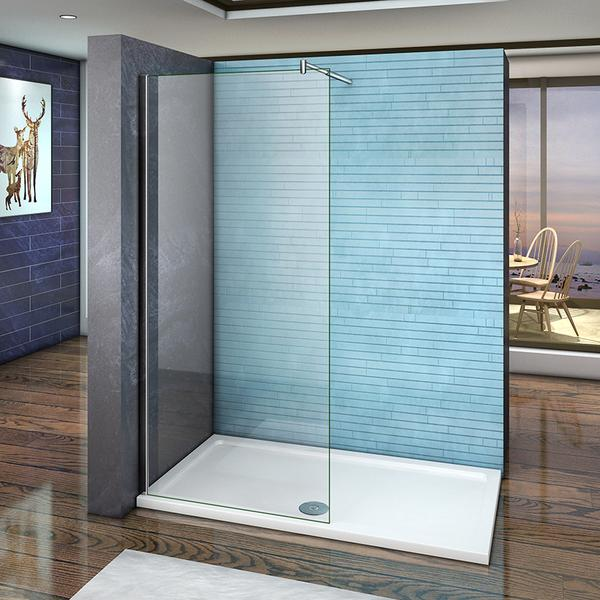 Wet Room Shower screen 8mm Nano Anti-Explosion Tempered Glass,1850 1950 2000 Height