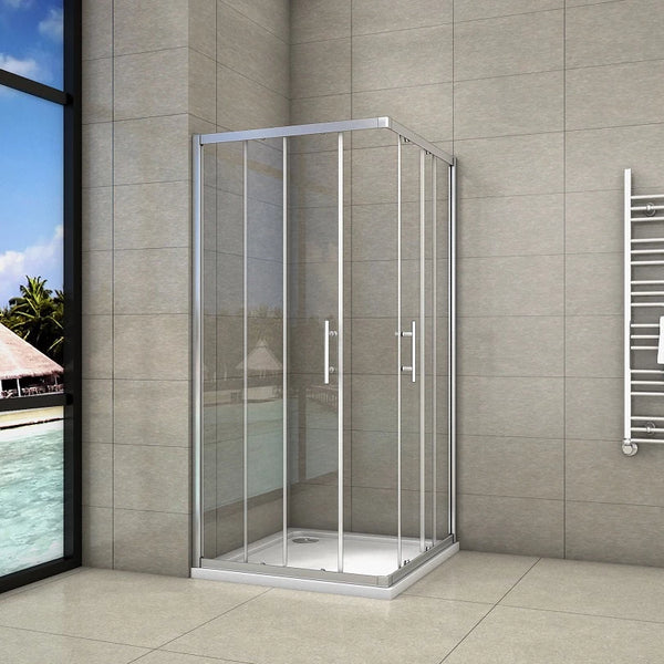 1850mm Chrome Double Doors, Corner entry sliding shower cubicle