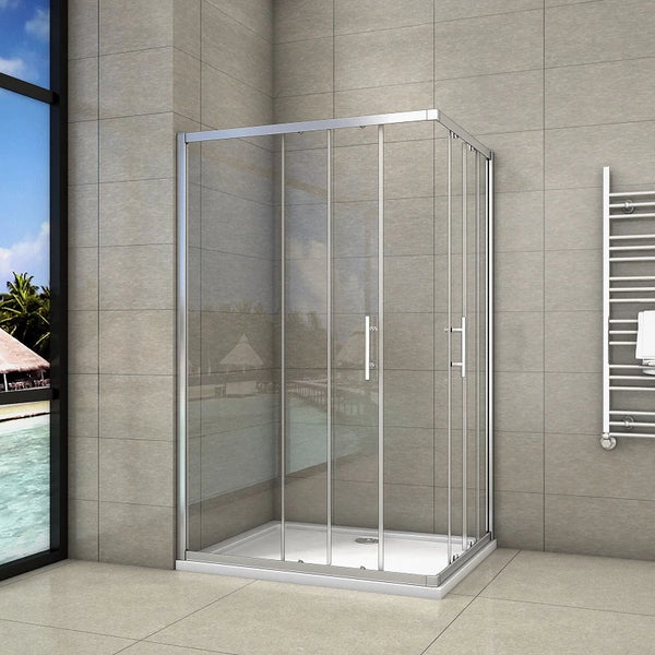 1850mm Corner Entry Enclosures Cubicle Double Sliding Shower Doors Chrome  Frame