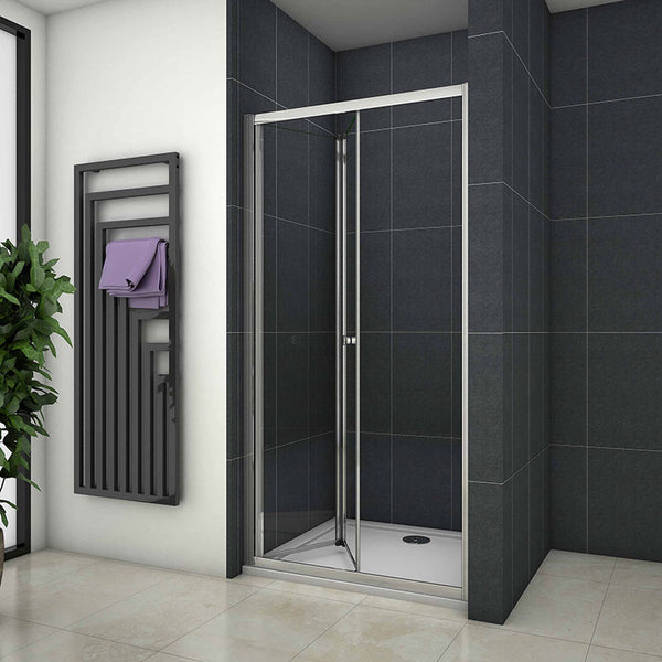 Bifold Shower Enclosure Cubicle Door,Stone Tray Optional 700mm|760mm|800mm|860mm|900mm|1000mm