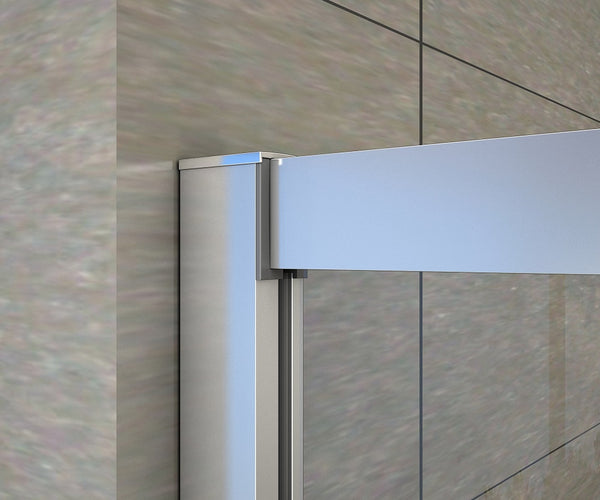 1900mm Chrome Double Doors, Corner entry sliding shower cubicle