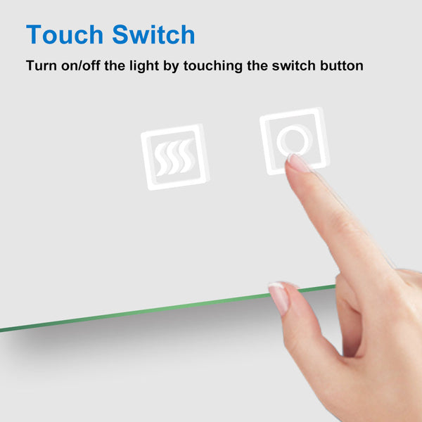 Illuminated Bathroom Demist Mirrors Wall Mounted Touch Switch Sensor White |Aica