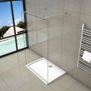 8mm Nano Easy Clean Tempered Clear Glass Safety Wet Room Screen 2 support bar