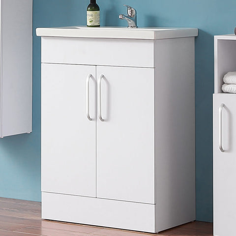 600mm Freestanding Bathroom Vanity Units with Basin Matt White