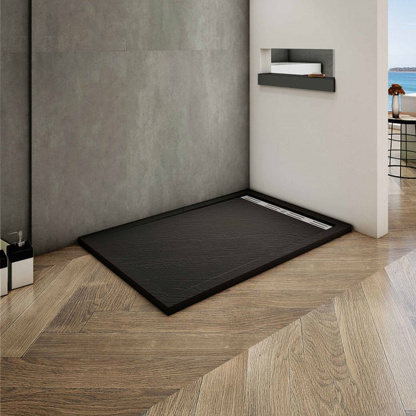 Shower Tray Imitation natural stone surface in black High skid resistance
