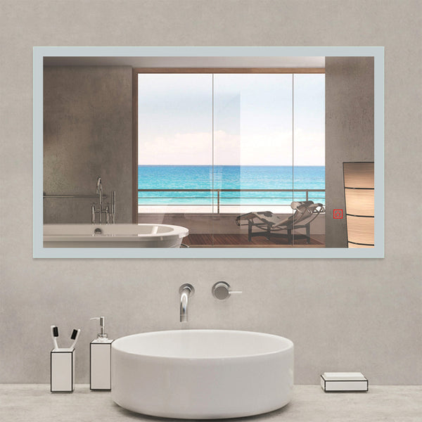 Demister Bathroom Wall Mirror with LED Lights-White Light | Aica