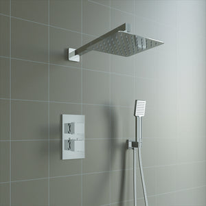 Bathroom Concealed Thermostatic Shower Mixer Set Square Design Chrome Finish