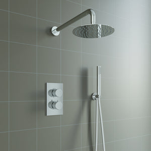 Bathroom Concealed Thermostatic Shower Mixer Set Round Design Chrome Finish