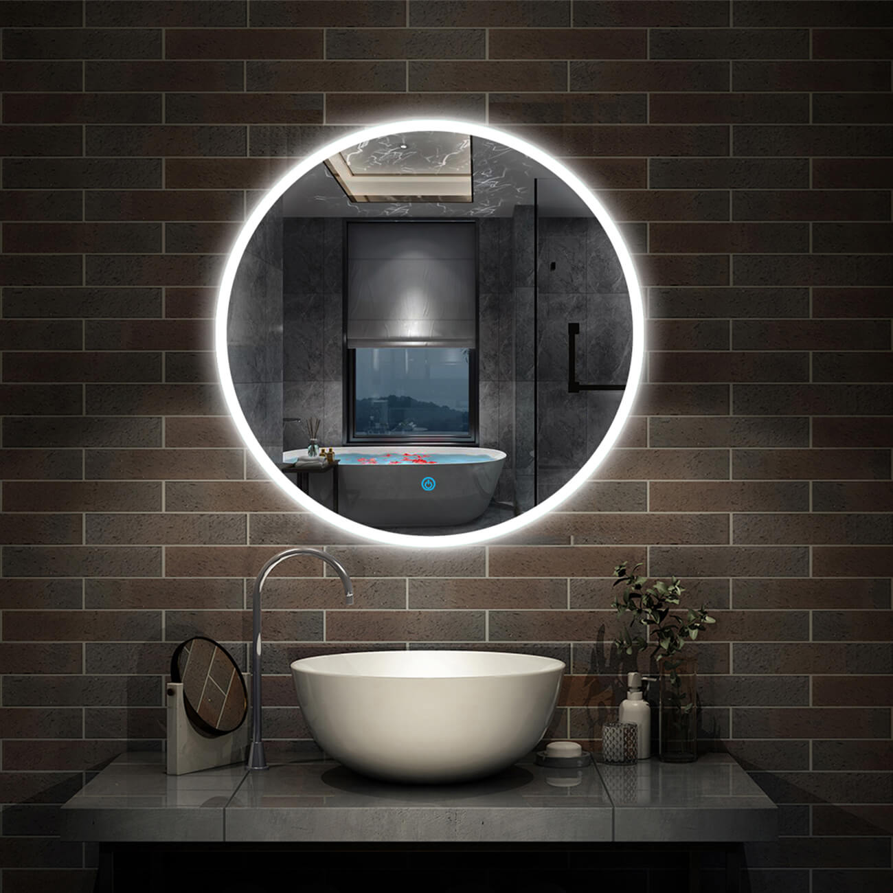 Round LED Bathroom Mirror with Demister-Flameless,Touch Control,600/700/800mm