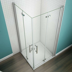 1850mm Frameless Hinge Bifold Pivot Shower Door Enclosure White Stone Tray
