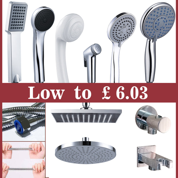 "UK 8""Shower Head Square Round Overhead,Hand Shower,Hose,Spray gun ect Shower Set"