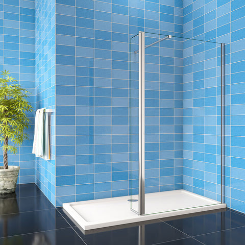 1900mm H Walk in Wet Room Shower enclosure 8mm shower screen EasyClean NANO Glass with Flipper Panel