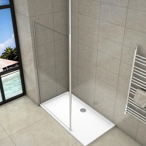 Walk-in Wet Room Shower screen with ceiling strut, 8mm Nano Anti-Explosion Tempered Glass