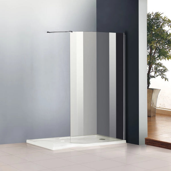 Chrome Wet Room Shower Enclosure Curved Screen Cubicle,Stone Tray Optional