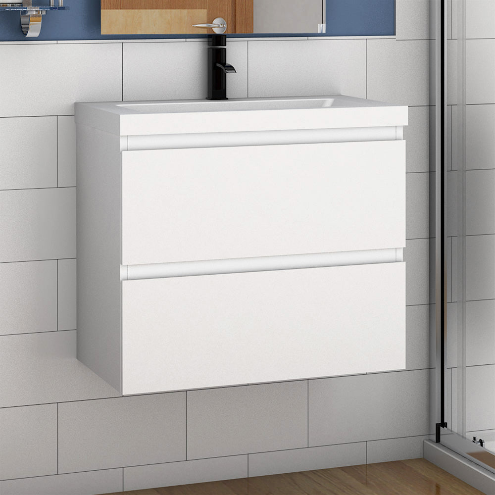 600mm Designer Bathroom Wall Hung Vanity Units with Sink,2 Drawers,White and Grey