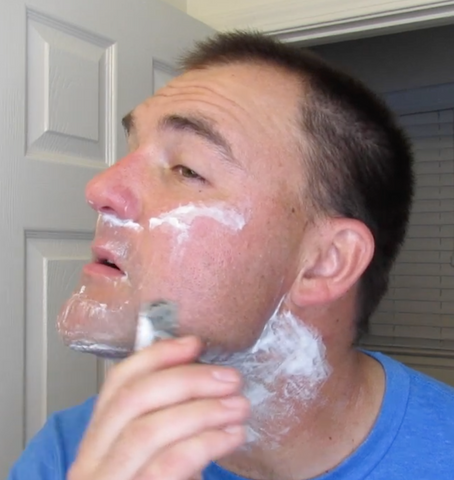 Use small strokes to prevent cuts and irritation when shaving