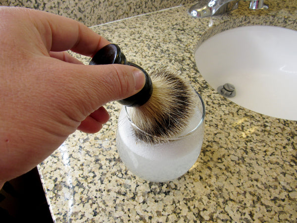 How to clean your shave brush: rinse with dish soap