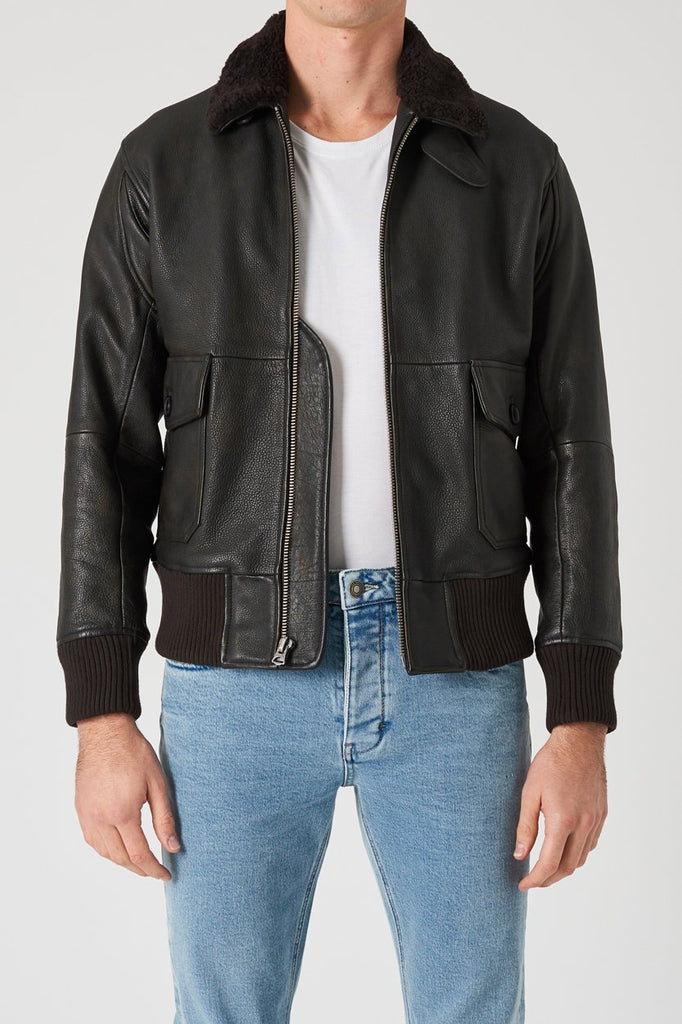Flight Leather Jacket - Vintage Brown