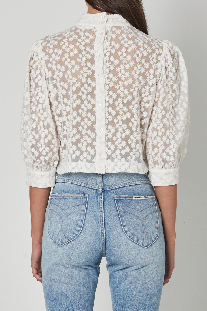 Stephanie Daisy Lace Blouse - White
