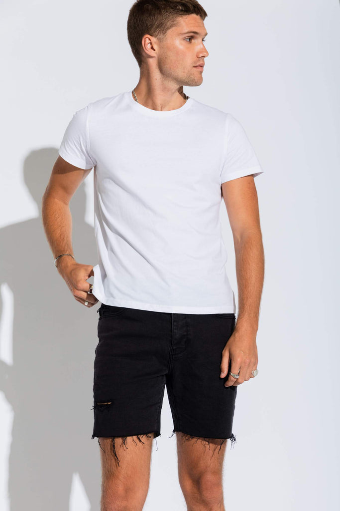 A Cropped Slim Short - Smoked