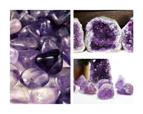 Amethyst tumbled crystals healing reiki purple
