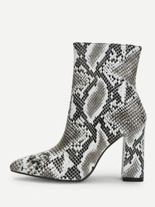 Snakeskin Side Zipper Boots