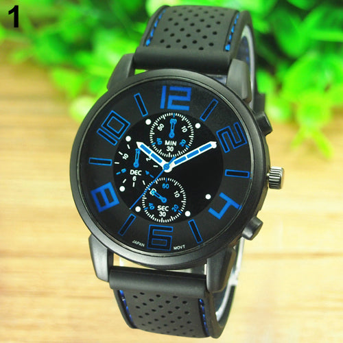 Men's Casual Sports Stainless Steel Silicone Band Quartz Analog Wrist Watch 5ZF6