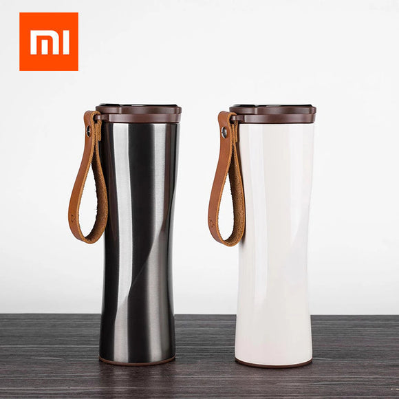 Xiaomi Kiss Kiss Fish Slim Smart Cup 430ml OLED Temperature Screen 310g Protable Stainless Steel Hot Water Cup with Leather Rope